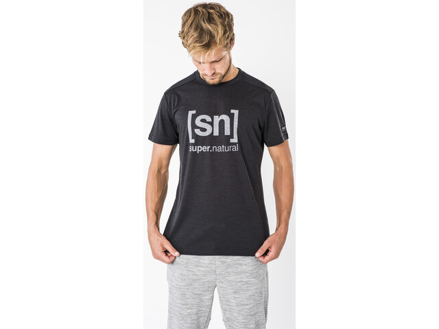 super.natural Essential I.D. Camiseta Hombre, jet black melange/vapor grey logo